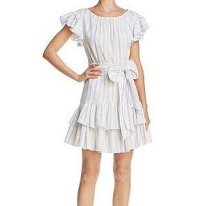 Rebecca Taylor White Yarn Dyed Stipe Ruffle Dress